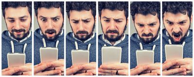 Expressive young man using a smartphone. Collage of expressive young man using a smartphone stock photography