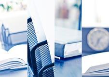Collage för affärstemafotoet komponerade av få bilder arkivbild