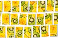 Collage för bakgrund för frukter för kiwiapelsinblandning färgrik skivad Arkivbilder