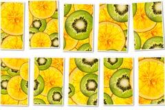 Collage för bakgrund för frukter för kiwiapelsinblandning färgrik skivad Royaltyfri Bild