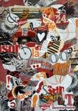 Collage för bakgrundslynnebräde som göras av rivna tidskrifter i rött, apelsin och svartfärger Fotografering för Bildbyråer