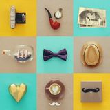 collage för den bästa sikten med manlivstil anmärker Begrepp för dag för fader` s arkivbilder