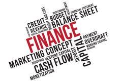 Collage för finansordmoln, affärsidébakgrund äganderätt för home tangent för affärsidé som guld- ner skyen till Företaghuvudstad royaltyfri illustrationer