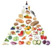 Collage för frukt för frukter och för grönsaker för äta för matpyramid sund arkivfoto