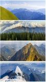 Collage för fyra säsongberg, flera bilder av härliga berglandskap på olik tid av året, höst, vinter, arkivfoto