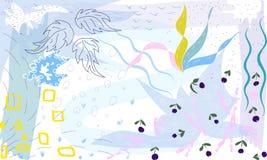 Collage för garnering för tid för sommar för utdragen vektor för hand abstrakt ovanlig med abstrakt sida- och bärmotiv vektor illustrationer