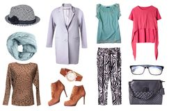 Collage för kläder för vårkvinna` s isolerad fastställd arkivbilder