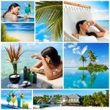 Collage för lopp- och semesterbegrepp Arkivbilder