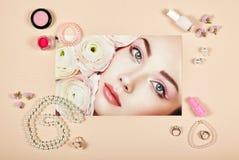 Collage för modedamtillbehör royaltyfria foton