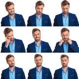 Collage för nio bilder av en ung elegant man` s vänder mot fotografering för bildbyråer
