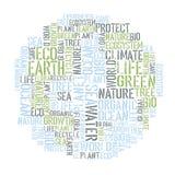 Collage för ord för ekologijordbegrepp Arkivfoton