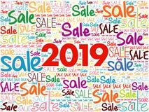 Collage 2019 för SALE ordmoln stock illustrationer