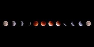 Collage för Supermoon slutsummamånförmörkelse Arkivbild