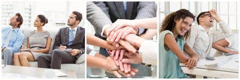 Collage för teamworkaffärsmöte arkivfoton