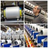 Collage för textilbransch - garntillverkningsprocess arkivbild