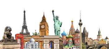 Collage för världsgränsmärkefoto som runt om världen isoleras på det vita bakgrund, loppturism och begreppet för studie