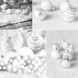 Collage för vit jul med julgarnering arkivfoton