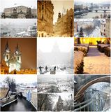Collage fabulous winter Prague Royalty Free Stock Photos