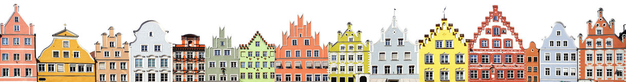 Collage of the Landshut facades. Stock Images