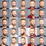 A collage of faces of men with different expressions Stock Image