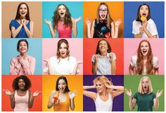 The collage of surprised people. The collage of faces of surprised people on colored backgrounds. Happy women smiling. Human emotions, facial expression concept stock photo