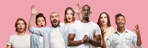 The collage of faces of surprised people on pink backgrounds. Human emotions, facial expression concept. Collage of men and woman royalty free stock image
