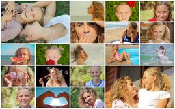 Collage family children hands, emotions Stock Image