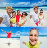 Collage of Family of four having fun at the beach Royalty Free Stock Image