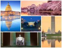 Collage famoso dell'immagine dei punti di riferimento del Washington DC immagine stock