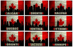Collage of famous Canadian cities. (Winnipeg, Halifax, Calgary, Edmonton, Quebec, Montreal, Ottawa, Toronto,Vancouver) on the Grunge Canadian Flag Royalty Free Stock Photo