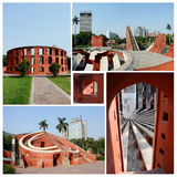 Collage of famous Delhi landmark,astronomical observatory Jantar Mantar Royalty Free Stock Photo