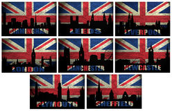 Collage of famous English cities. Collage of famous British cities(Birmingham,Leeds,Liverpool, London,Manchester,Plymouth,Sheffield,Newcastle) on the Grunge Royalty Free Stock Image