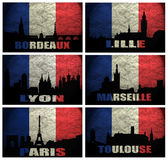 Collage of famous French cities Stock Image