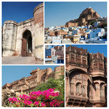Collage of famous indian Blue City - Jodhpur, Rajasthan Royalty Free Stock Photography