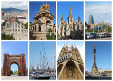 Collage with famous landmarks in Barcelona, Spain Royalty Free Stock Photos