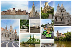 Collage with famous monuments in Budapest, Hungary stock photography