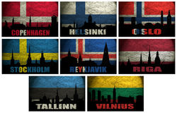 Collage of famous Northern Europe (Scandinavia) cities Royalty Free Stock Photography