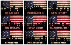 Collage of famous USA cities from M to P Stock Photos