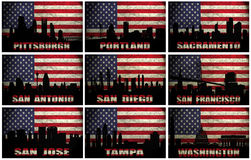 Collage of famous USA cities from P to W Stock Image