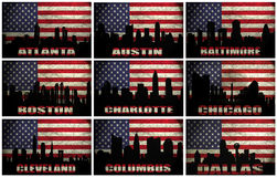 Collage of famous USA cities from A to D vector illustration