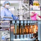 Collage farmaceutico di tecnologia di fabbricazione Fotografia Stock