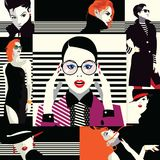 Collage of fashionable girls in style pop art. Collage of fashion girls in style pop art. Vector illustration Vector Illustration