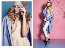 Collage of fashion studio photos of gorgeous young woman with blond curly hair Stock Images