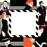 Collage of fashionable girls in style pop art. Collage of fashion girls in style pop art. Vector illustration Stock Images