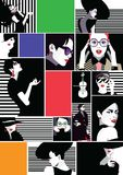 Collage of fashionable girls in style pop art. Collage of fashion girls in style pop art. Vector illustration Stock Photos
