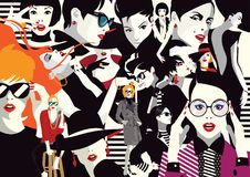 Collage of fashionable girls in style pop art. Vector illustration Stock Images