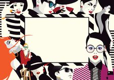 Collage of fashionable girls in style pop art. Vector illustration Royalty Free Stock Image