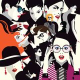 Collage of fashionable girls in style pop art. Vector illustration Royalty Free Illustration