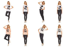 Collage of fashionable young woman blonde in jeans Royalty Free Stock Photo