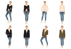Collage of fashionable young woman blonde in jeans Royalty Free Stock Image